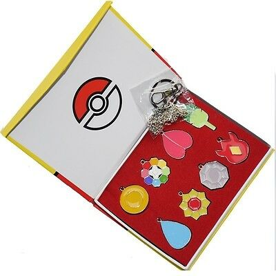 Pokemon Kanto Region Gym Badges Necklace Pendant Cosplay Collection 8pcs Set Box