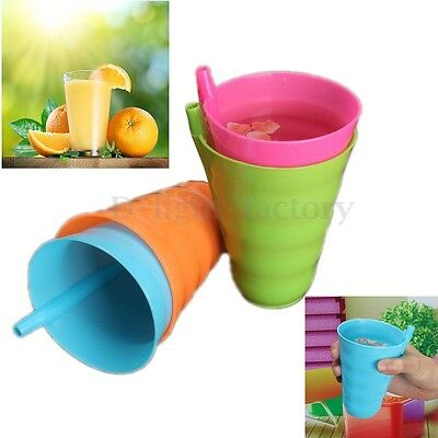 Children Kids Baby Infant Sip Milk Cup with Built in Straw Mug Drink Home Colors