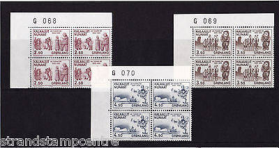 Greenland - 1983 Millenary (3rd Issue) - U/M - Numbered CORNER BLOCKS of FOUR