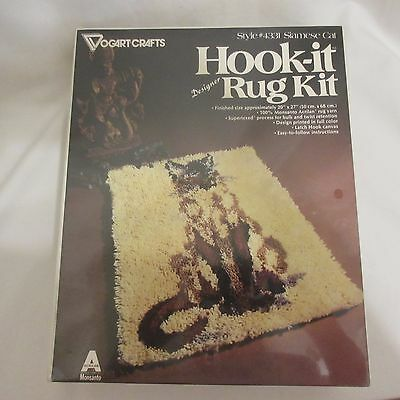 "Vintage Vogart Crafts Latch Hook Siamese Cat Rug Kit #4331 USA 20""x27"" Sealed"