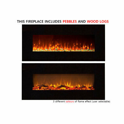 """New Black 50"""" Wall Mounted Electric Fireplace LED Flame Heater Pebble WoodLogs"""