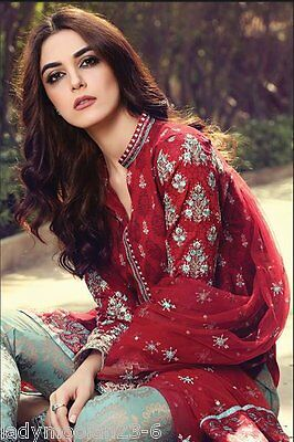 MARIA B Shalwar Kameez Asian Indian Designer 2017 Embroidered LAWN NET DUPPATTA