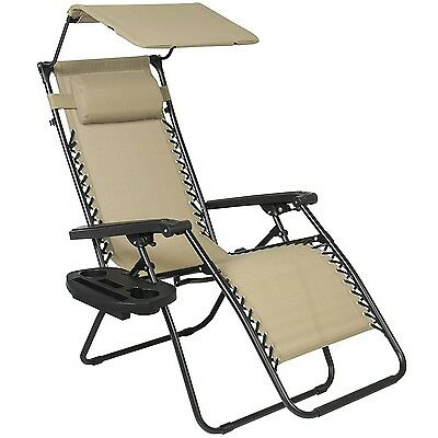 Outdoor Zero Gravity Lounge Recliner Chair Beach Patio Pool Yard Folding Canopy