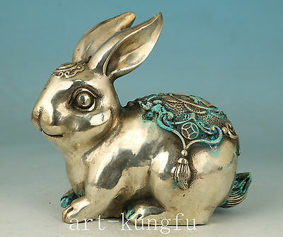 Chinese White Copper Collection Handmade Carved Rabbit Statue