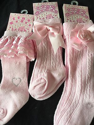 BABY/Girl Spanish ruffled Princess LACE KNEE LENGTH  SOCKS with bows lace POMPOM