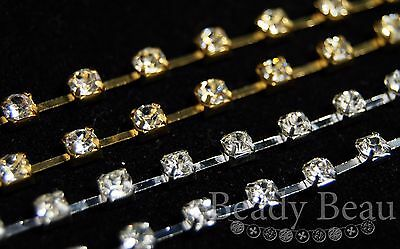 1 X Meter Rhinestone Clear Crystal Cup Chaiin 3.9Mm Ss16 Silver Or Gold Tone