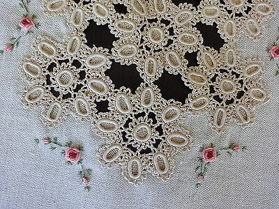 Vintage Hand- Embroidered Linen Table Runner with Pink Roses and Crochet Lace
