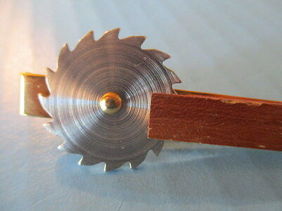 """Vintage Tie Clip, """"circular Saw Cutting Wood"""", Advertising Give-Away, Rare"""
