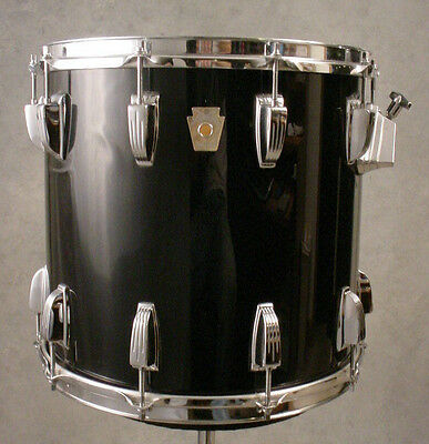 "80's LUDWIG 14x13"" MOUNTED BLACK TOM DRUM"