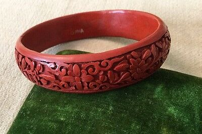 Antique Carved Cinnabar Asian Bangle Bracelet China Chinese