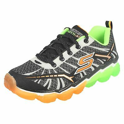 Boys Skechers 95108 Skech-Air - Turbo Shock Black/Lime Lace Up Trainers
