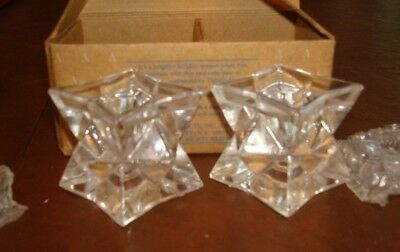 Avon Glistening Star Crystal Candle Holder Gift Collection*nib*24% Lead Crystal