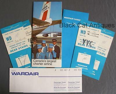 Orig 1971 Wardair Canada Lot of Travel Pamphlet Boarding Passes Folder & Tickets