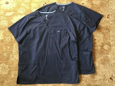 Med Couture Scrubs Lot 2 Tops Shirts women's size XL - navy blue