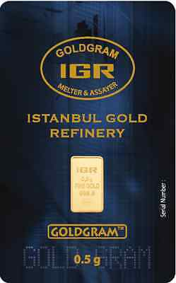 5 X 0.5 Gram  999.9 24K Istanbul Gold Refinery Bar IGR ( In Assay )
