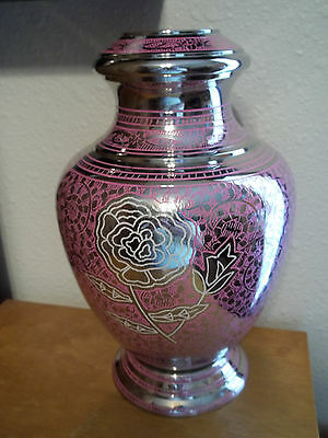 Med. Brass Cremation Urn~Plated Nickel & Pink  w/Flower ~up to 110 lbs