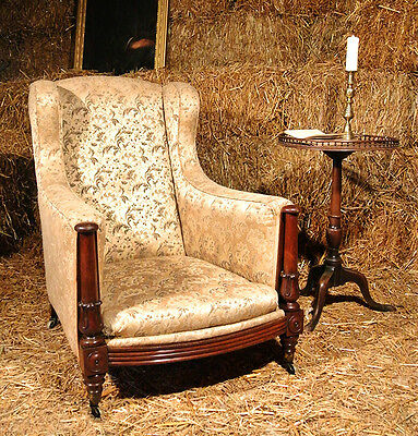 Regency Mahogany Upholstered Bergere Chair in the Manner of Gillows c. 1830