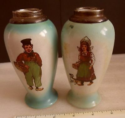 Pair Of Solid Silver & Porcelain Antique Vases Dutch Boy & Girl Chester 1920