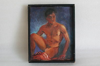 Vintage Oil On Canvas Painting Of A Male Nude Indistinctly Signed Framed