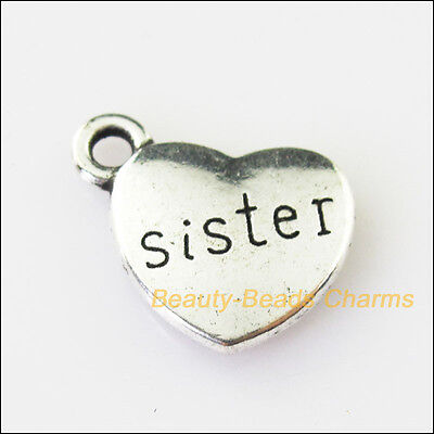 4Pcs Antiqued Silver Tone Heart Sister Words Charms Pendants 16x18mm