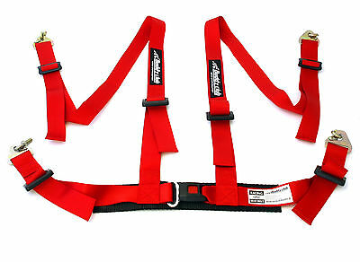 """Buddy Club 4 Point Release 2"""" Red Seat Belt Safety Harness With Eyelets Y1848"""