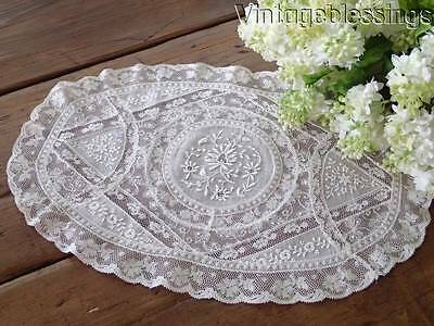 "Excellent ANTIQUE French Normandy Lace Oval Doily  17 3/4"" x 11 1/4"