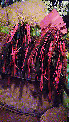 Punk Rave Gear Goth Emo Red Black Ribbon Industrial Hat Headgear Hair Falls