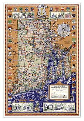 "Big Pictorial Color MAP of the State of RHODE ISLAND circa 1930 - 24"" x 36"" USA"