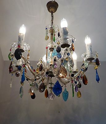 Large Vintage 6 Arm Marie Therese Chandelier with MULTI-COLOUR Crystals & Swags
