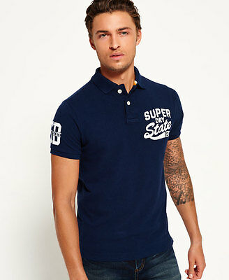 New Mens Superdry Super State Pique Polo Shirt Rigging Navy