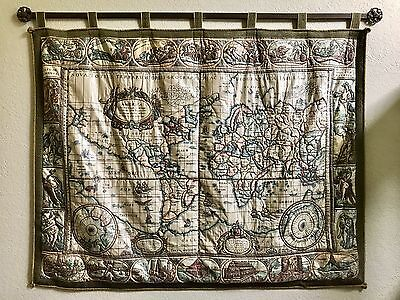 Antique Large Fabric Old World Map made in Germany