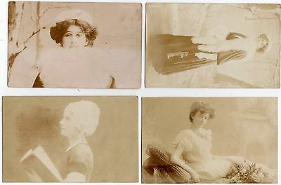 LOT OF 4 OLD GLAMOUR SEPIA PHOTO POSTCARD s PRETTY LADIES