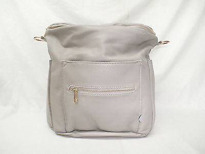 Fawn Design Faux Leather Backpack/Messenger Diaper Bag Gray GG8 New