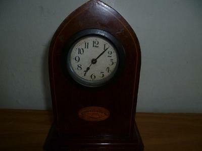 Small Antique Inlaid Wooden Mantle Clock