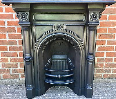 Original Victorian Cast Iron Fireplace - All in One Stunning Antique Dated 1879
