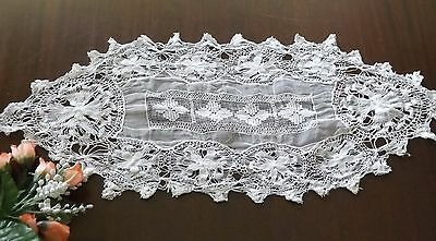 Antique Needle Lace Table Runner Doily Embroidered White Vintage 20x8""