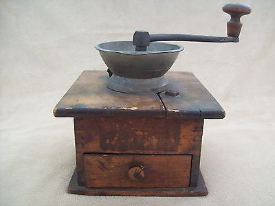 Antique Coffee Grinder, Wooden Dovetail Construction, Early 1900's
