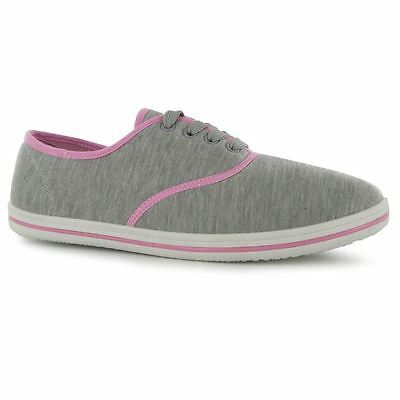 Ladies Slazenger Laced Canvas Tai-Chi / Kung Fu Shoes - Grey/pink