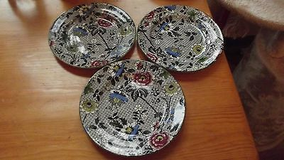 3 Beautiful Antique Deans Burslem  Decorative Side Plates.