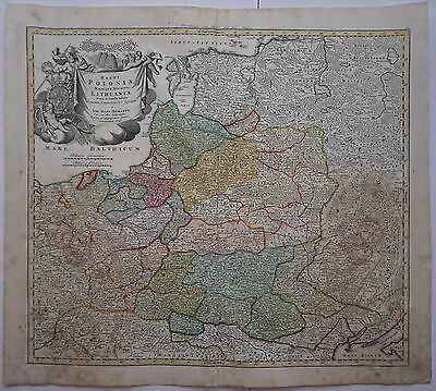 Poland 1741 Original Antique Map Lithuania Latvia Russia Belarus Baltics Homann
