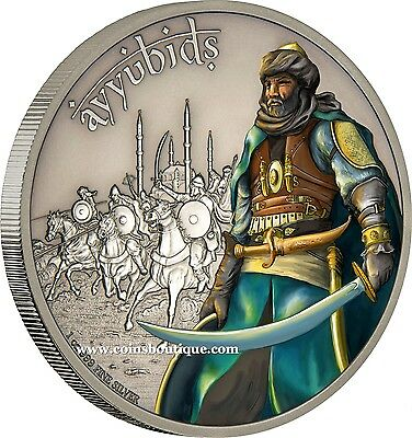 Ayyubids-Warriors Of History 1oz Silver Coin Antiqued Niue 2017