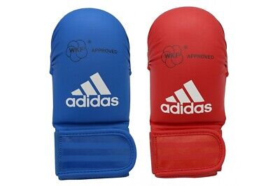 Adidas WKF Karate Mitts No Thumb Competition Sparring Gloves Red Blue S M L XL