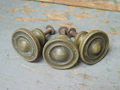 Three (3) vintage solid brass round drawer pulls