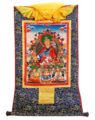 Tibetan Buddhist Thangka - Printed Lotus Born Buddha on Silk Brocade Scroll