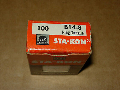 Pkg. 100 Thomas & Betts (T&b) Sta-Kon B14-8 Ring Tongue Terminal 16-14 Awg Wire
