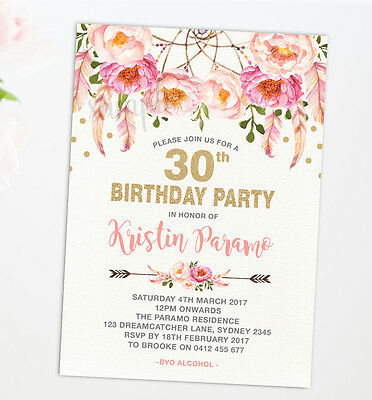 Pink Gold Boho Birthday Invitation Invite Floral Tea Party 30th 40th 50th 60th
