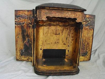 Antique Asian Traveling Shrine / Altar Lacquered Gilt Wooden Cabinet