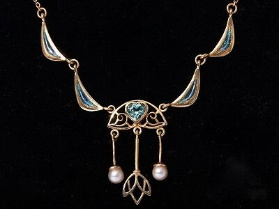 Antique Aquamarine and Freshwater Pearl Jugendstil/Arts & Craft Gold Necklace