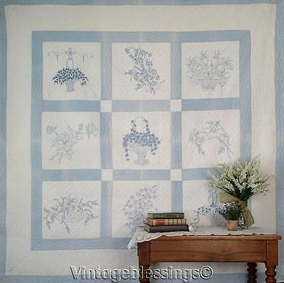 "So Pretty! Antique c1920 Blue & White Embroidery QUILT 77"" x 77"""