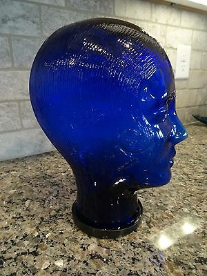 Cobalt BLUE Woman Glass Mannequin Head Display Wig Hat Sunglasses